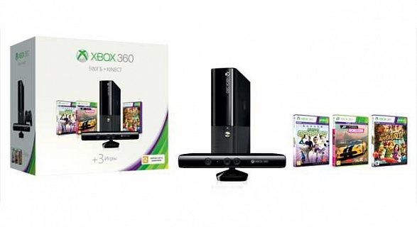 Xbox 360 E 500 GB с Kinect + Kinect Adventures + Forza Horizon + Kinect Sports + бонус World of Tank