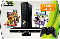 Microsoft Xbox 360 Special Edition 4 GB + сенсор Kinect + игры Kinect Adventures + Kinect Sports 1+ 3M Live (черная)