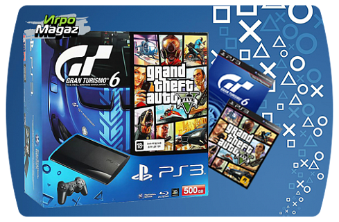 PlayStation 3 500 GB Premium + Gran Turismo 6+GTA V